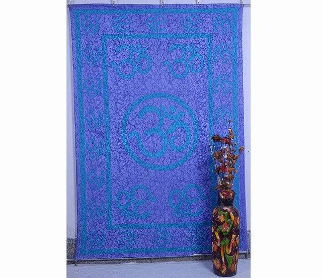 """Om"" Mandala Wall Hanging Indian Tapestry Hippie Bedspread Yoga Decor Curtain"