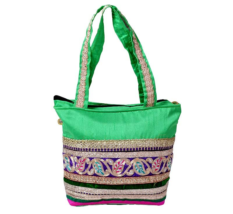 Indian Wedding Handbag Mughal style Green Colour Patchwork Embroidered Tote Bag