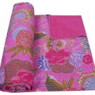 INDIAN KANTHA COTTON QUILT RALLI REVERSIBLE BEDSPREAD FRUIT PRINT THROW GUDARI