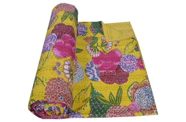 Indian Kantha Cotton Fruit Print Quilt Throw Ralli Reversible Bedspread Gudari