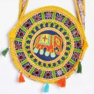 Indian Multi Bag Elephant Embroidered Mirror Ethnic Decor Round Bag 12 X 12 Inch