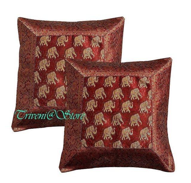 Indian Nice Elephant Silk Woven Hippe Zari Borcade Banarasi Cushion Pillow Cover