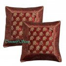 Indian Nice Elephant Silk Woven Hippe Zari Borcade Banarasi Cushion Pillow Cover