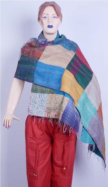Kantha Patch Work Vintage Stoles Reversible Quilted Shawl Scarf Hijab Silk Hand