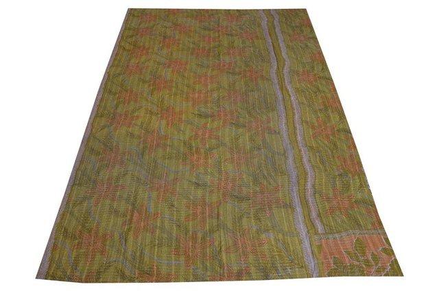 INDIAN Patchwork Kantha Vintage Quilt Old SariRalli Bedspread Reversible Gudari