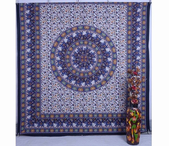 Indian Elephant Mandala Psychedelic Hippie wall hanging Tapestry Bed Cover Art