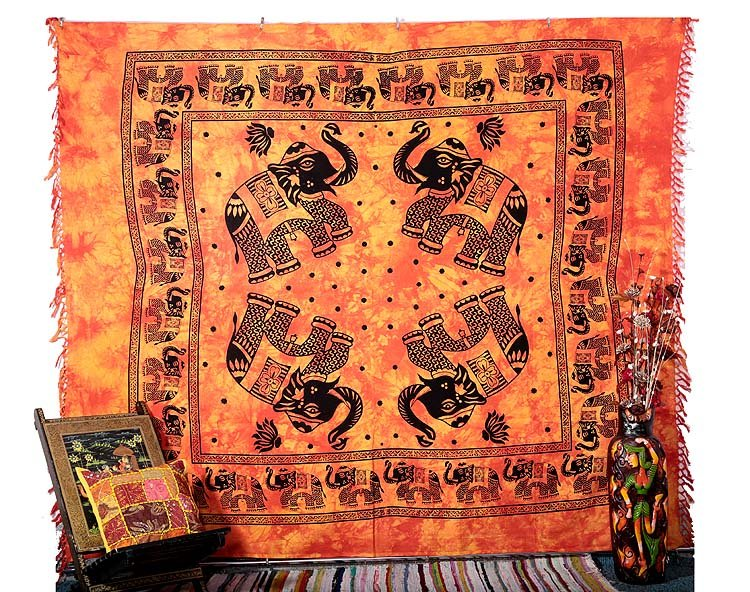 QUEEN ELEPHANT MANDALA BEDSPREAD WALL HANGING TAPESTRY HIPPIE Blanket Decor Art