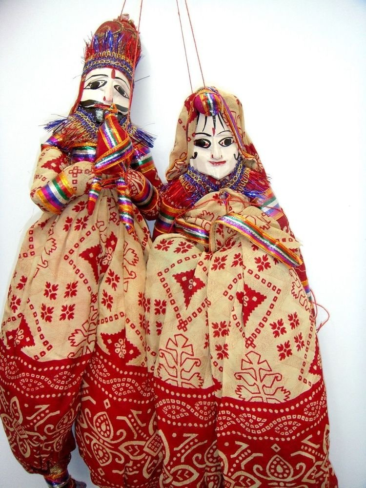 5 Pair of Rajasthani Indian Puppets Home Decorative Home Decor Curtains Decor