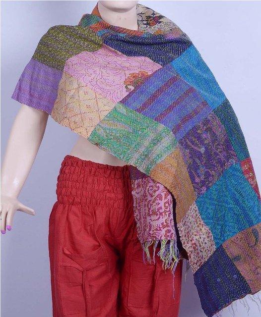 Indian Beautiful Shawl Handmade Sari Silk Shawl / Scarf / Wraps Kantha Designer