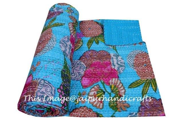 Indian Queen Kantha Quilt Throw Bedspread Bedding Blanket Reversible Gudari