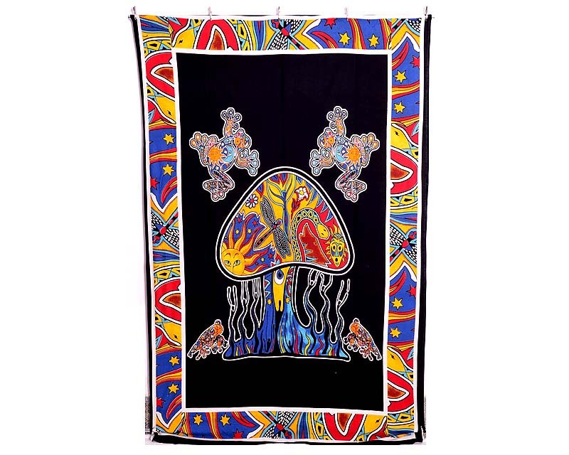 TREE&FROG PRINT COTTON BEDSPREAD WALL HANGING INDIAN BEDSHEET TAPESTRY DECOR ART