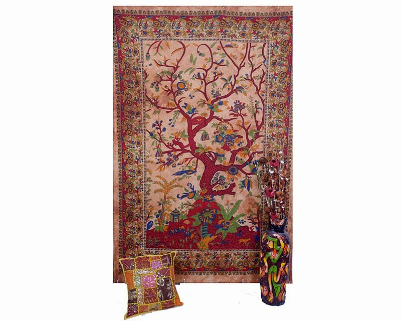 IndianTree of Life& Bird Bohemian Bedsheet Wall Hanging Tapestry Bedspread Decor