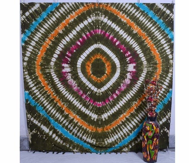 QUEEN TIE& DYE PEACE SIGN BLANKET BEDSPREAD DECOR INDIAN WALL HANGING TAPESTRY