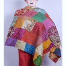 Handmade Indian Embroidered Kantha Silk Shawls/Hand- Stiched Scarves wraps Shawl