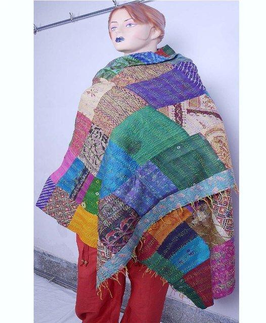 Beautiful Handmade Indian Silk Shawl / Scarf / Wraps Handmade Sari Kantha Shawl