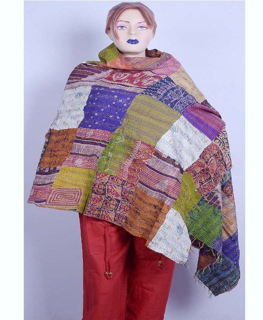 Indian Beautiful Handmade Sari Silk Shawl / Scarf / Wraps Kantha Handmade Shawl