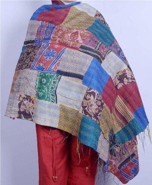 Indian Handmade Silk Patchwork Kantha Shawl / Scarve Reversible Indian Shawl