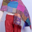 Beautiful Handmade Indian Handmade Shawl Sari Silk Shawl / Scarf / Wraps Kantha