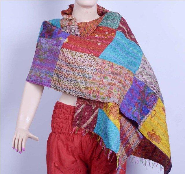 Indian Beautiful Handmade Designer Sari Silk Shawl / Scarf / Wraps Shawl Kantha