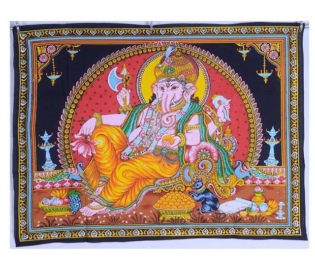 Indian Beautiful hindu god elephant ganesha painted ganesh wall hanging tapestry