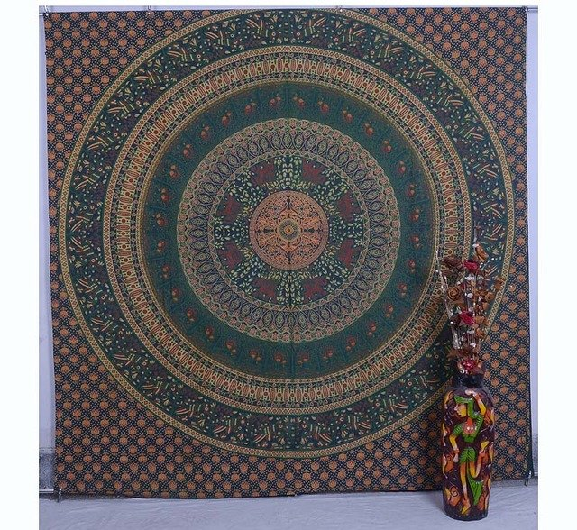 Indian Bird Mandala Bedspread Bohemian Hippie Throw Decor Wall Hanging Tapestry
