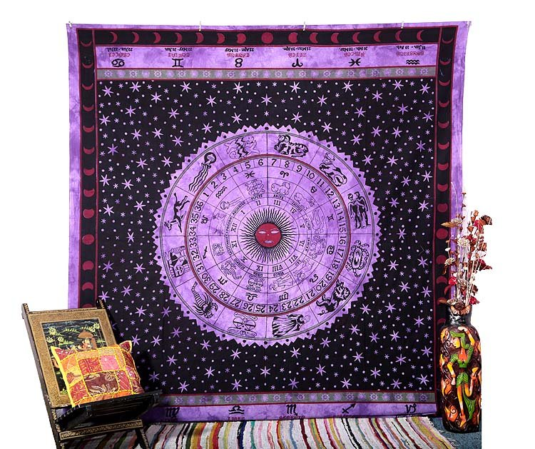 Indian Queen Horoscope Zodiac Astrology Wall Hanging Hippie Bedspread Tapestry