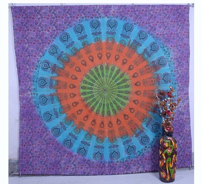 Indian Handmade Mandala Bedspread Bohemian Wall Hanging Tapestry Table Cloth Art