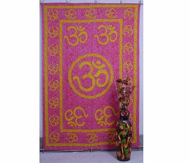 Indian Mandala Om Pink Wall Hanging Tapestries Hippie Bedspread Yoga Tapestry