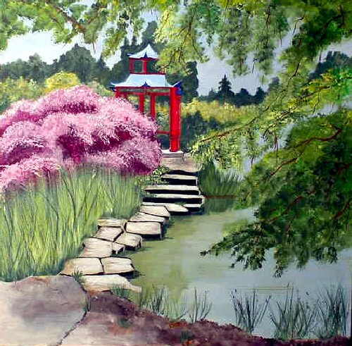Serene Oriental Teahouse, ready to hang