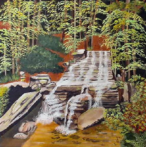 Forest Waterfall, 20x20, ready to hang