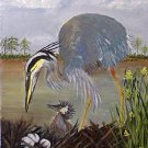 Blue Heron and baby, birds, ready to hang