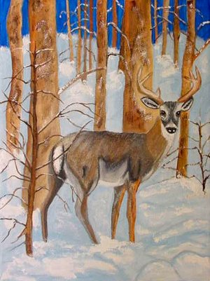 Winter Deer, ready to hang