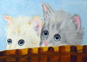"ACEO ""Peeking Kittens"""