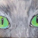 ACEO Green Cat Eyes
