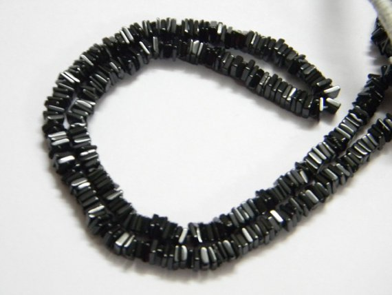 Black Spinel Square Heishi Cut Beads 16 inch strand 5 mm approx
