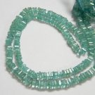 Aqua Apatite Square Heishi Cut Beads 16 inch strand 4 mm approx