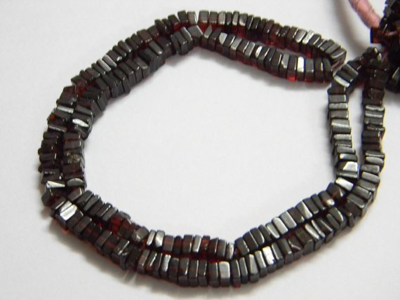 Garnet Square Heishi Cut Beads 16 inch strand 4.5 - 5 mm approx