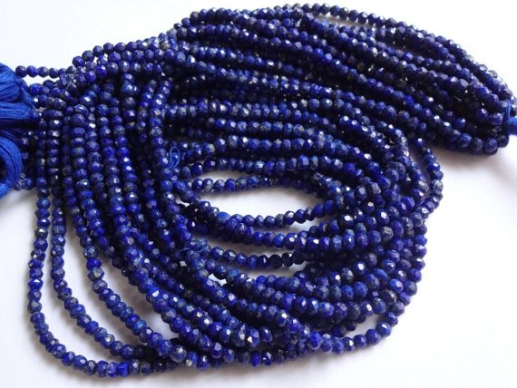 AAA Quality Lapis Lazuli Micro Faceted Roundell 14 inch strand 3 - 3.5 mm approx
