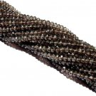 Smoky Quartz Micro Faceted Roundell 14 inch strand 3 - 3.5 mm approx