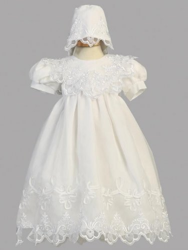 LITO Embroidered Organza Gown w/matching Bonnet(2560), S (6-9 M)