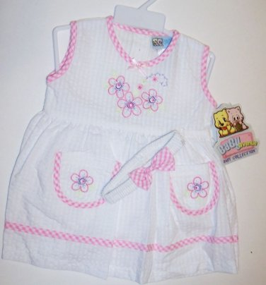 WHITE EMBROIDERED SUNDRESS SET (3 PC) 12-18 M