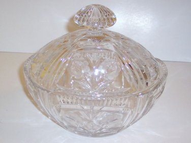 "Vintage Pressed Glass Covered Bowl, Heavy Crystal, 8""H, 8 1/2""L, 6""W"