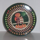 Decorative advertising tin, fall scene, Wolfgang Candy, green, 3 in x 5.5 in