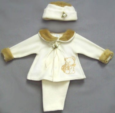 Embroidered Polar Fleece Set - Teddy Bear (3 PC) 12M, Faux fur on Collar & Cap