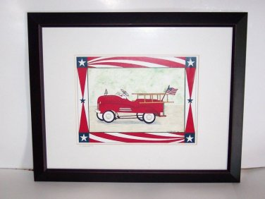 "Painting of a vintage peddle fire truck,  red white and blue, 20 3/8"" x 161/4"""