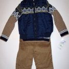 QUILTED VEST - SWEATER - PANTS SET (3 PC) 4T, Polyester, Cotton, Corduroy