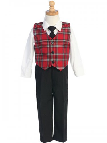 LITO Red Plaid Vest with Black Pants, Made in USA, 4T