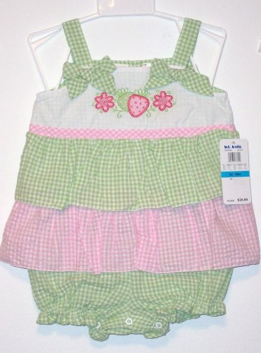 GIRL'S RUFFLED SEERSUCKER SUNSUIT, 12 M