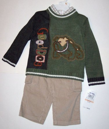 SWEATER SET (3 PC) 2T, color blocked olive and brown sweater, Bulldog