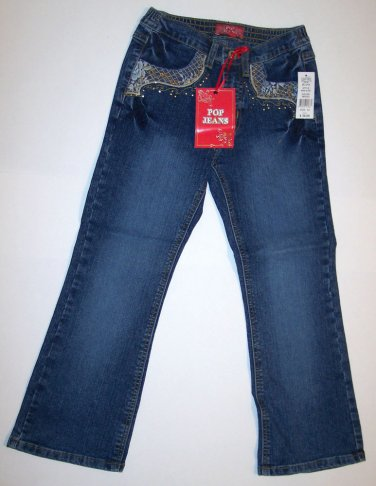 "Lace Pocket Decorated ""POP JEANS"", Size 5, lace trim, gold stitching, gold rhine"